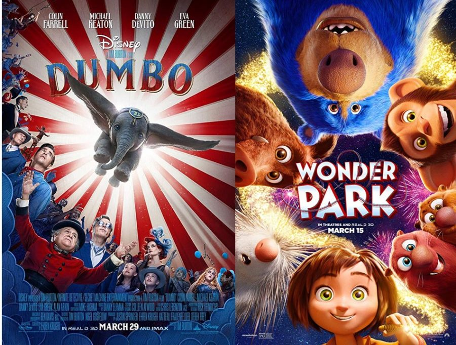 Displaying upcoming new movies, these two posters showcase an abundance of vibrant colors that attract the eye. Dumbo and Wonder Park are two films that will make you feel like a child at heart, through their fun and imaginative storylines.