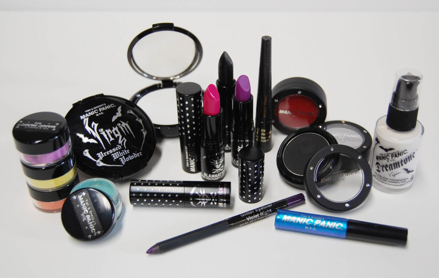 Awaiting use by environmentally conscious consumers, a variety of vegan cosmetics are shown. By using vegan and cruelty free products, makeup users can have piece of mind in knowing that there products have not been tested on animals and are environmentally safe.