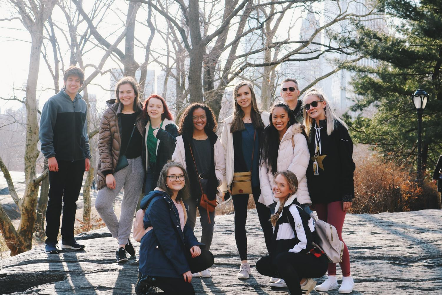 Posing in Central Park in New York City, these students along with Mr. Kotzian smile for the camera. Last week, multiple students went to New York City to learn about more about professional theatre and dance.