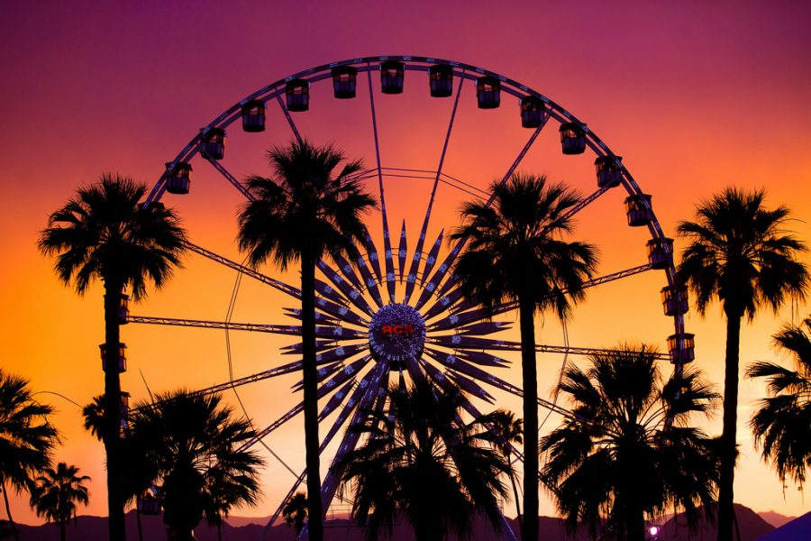 Planted in the middle of the desert, surrounded by palm trees and a beautiful sunset, the Coachella ferris wheel is an exciting attraction that visitors look forward too. The ferris wheel is just one part of all the activities offered at this lively music festival.
