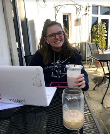 Sitting at Lafayette Village, sophomore Ashley Jean sips her iced coffee while working on a chemistry project. While it is completely normal to have coffee daily, you want to be careful to not grow dependent on this drink because it can lead to an addiction.