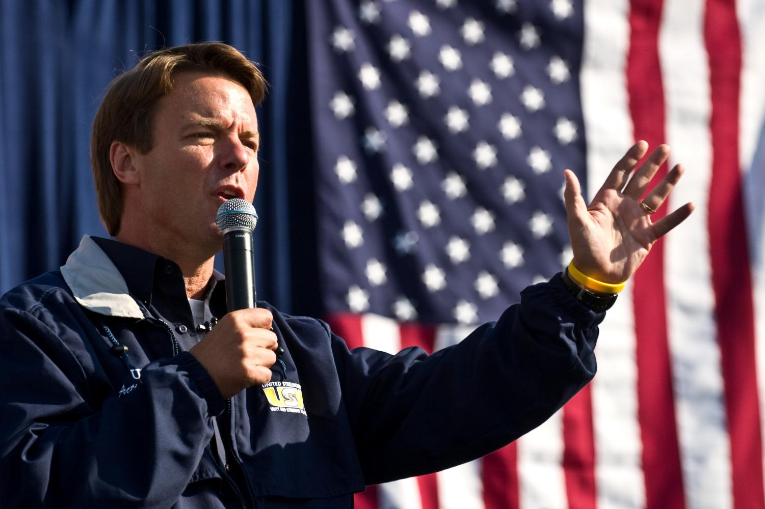 Campaigning for president, Democratic nominee John Edwards delivers a campaign speech. Although he lost the election, his campaign was very popular, leaving him in second place behind Barack Obama.