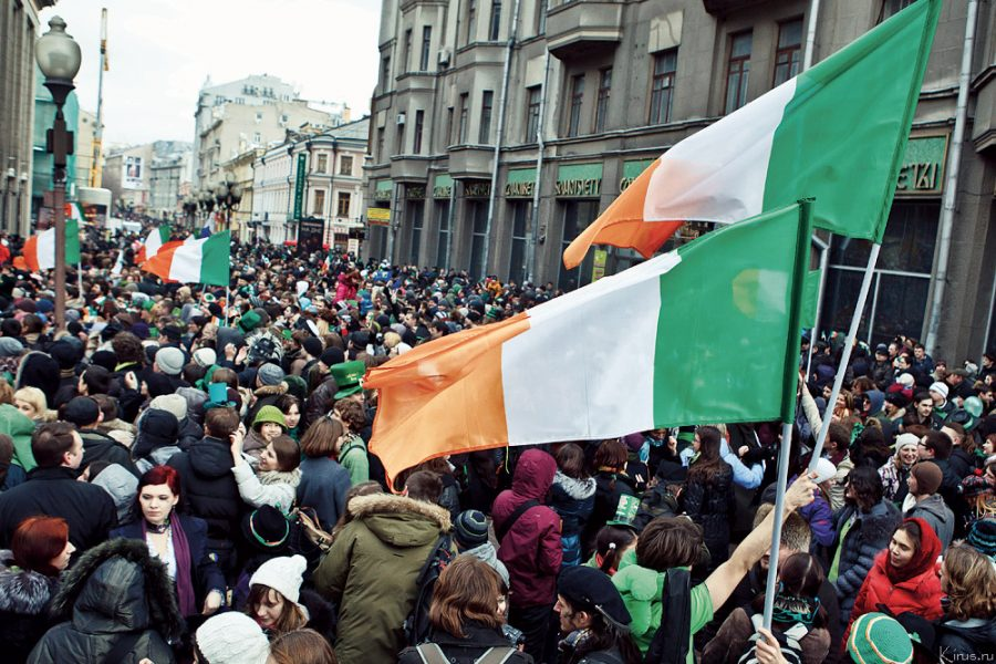 Waving flags and uniting together to celebrate their Irish heritage, these citizens commemorated one of Ireland's foremost patron saint, Saint Patrick. Because it is a commonly celebrated holiday, different countries and cities celebrated with parades and festivals, while each location incorporated their own traditions.
