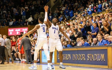 High fiving, forwards RJ Barrett and Zion Williamson congratulate each other after beating Louisville 71-69. The Duke Blue Devils have a great chance to come out as champions of the NCAA Tournament.