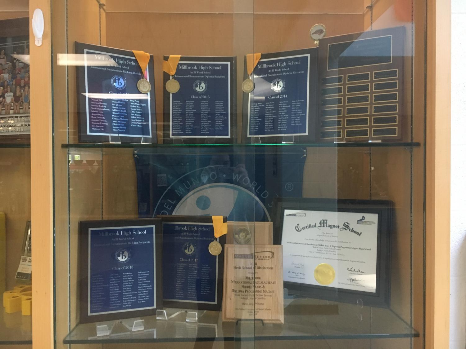 Celebrating the many years of success the IB Diploma Programme has brought Millbrook students, the display case in the lobby represents years of academic excellence. Even as the programme reaches the end of its time at Millbrook, students and staff will continue to reminisce fondly of their days in the program for years to come.