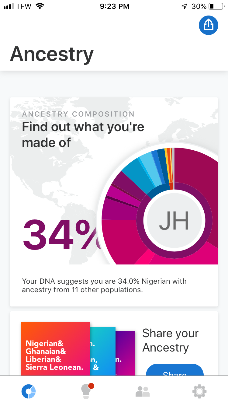 Displayed above are the colors of the different ethnic groups and regions from where my DNA has my been traced. Knowing more about where you come from can connect you closer to your family, ancestors and the world you live in.