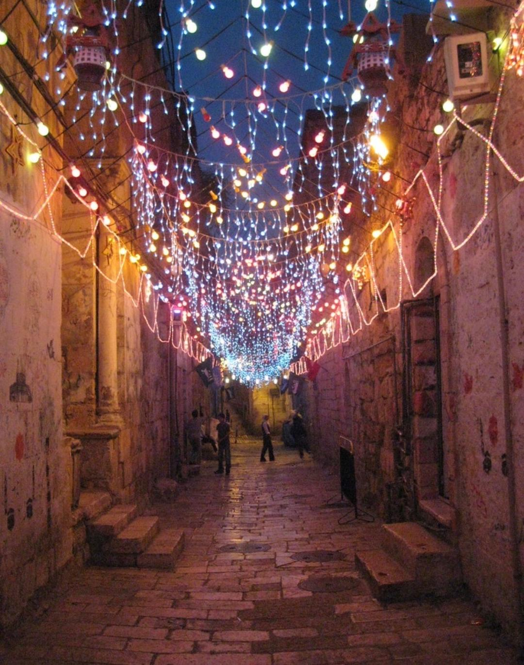 Decorated for Ramadan, the streets of Jerusalem shine into the night. Ramadan is one of the biggest celebrations within the Islamic faith, and it started at sundown last night!