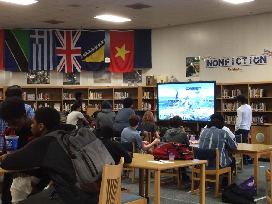 Watching intently as a match goes on, The Video Game Club is deep in the middle of an intense tournament. Though not a frequent activity, the Video Game Club holds these events as a fun way to get their name out and to get new people to visit the club.