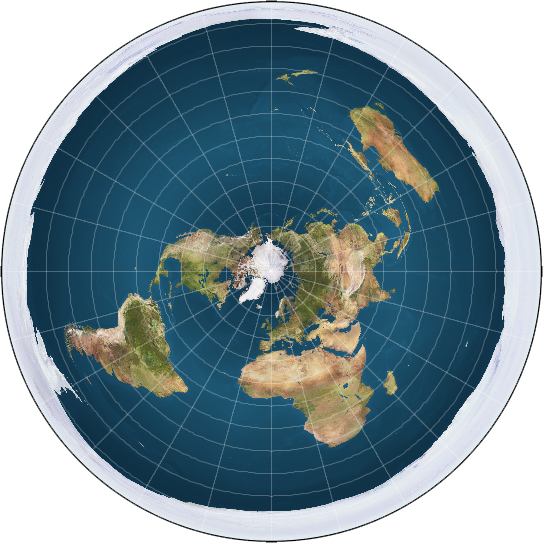 Showing what Flat Earthers believe to be how our world really looks, this pictures represents the Earth as a flat disk. Is the Round Earth conspiracy just a government ruse to keep us ignorant and docile?