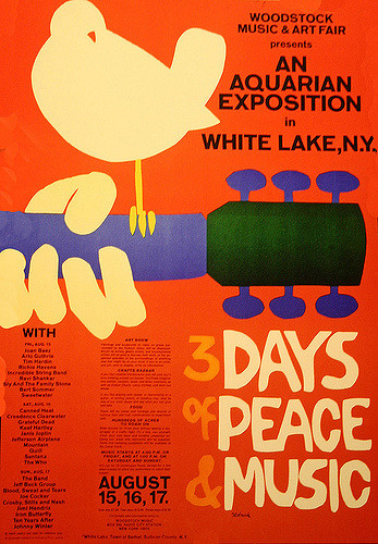 Promoting the first Woodstock music festival held in White Lake, New York some forty-three miles from Woodstock, organizer Michael Lang and his three partners released the lineup for the first-ever Woodstock music festival. Attendants included Led Zeppelin, The Rolling Stones, John Lennon, Jimi Hendrix, and more.