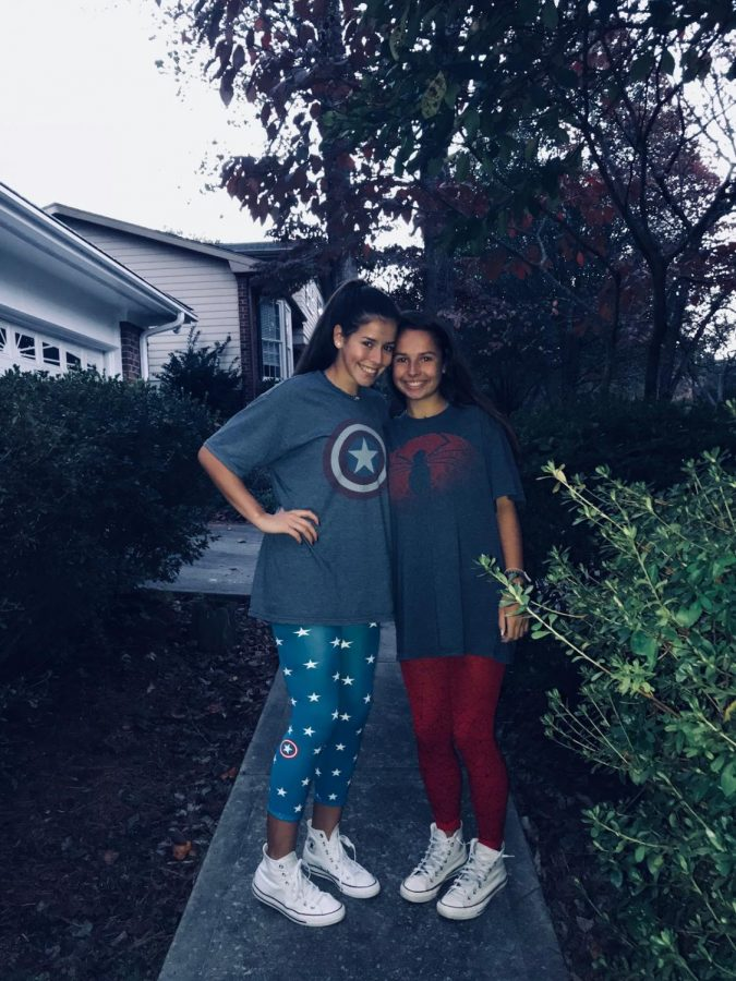 Wearing matching costumes, seniors Delfina Ortega and Reagan Williams get ready for Halloween. These are some of the many costumes that will keep you looking trendy this year!