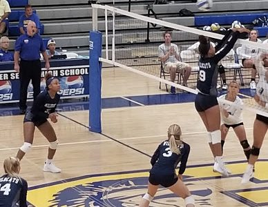 Jumping up to stop the ball from entering her side, Reychel Douglas attempts to prevent  the other team from scoring. Reychel is a freshman, and being on Millbrook's Varsity Volleyball team shows just how spectacular she is!