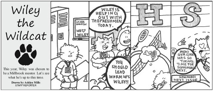 Wiley the Wildcat: Wiley helps out the freshmen