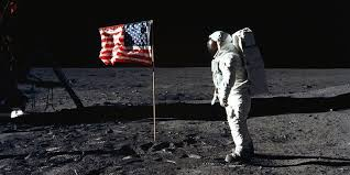 Waving in the wind on the moon (wait a minute...), the American flag stands tall on the surface. Although six percent of Americans believed that the Apollo 11 mission was a hoax in 1999, it has been proven time and time again to be legitimate and altogether a win for Americans.