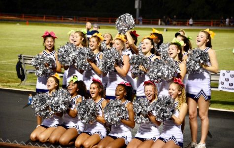 Showcasing their energy and spirit, these cheerleaders are getting the crowd excited for a football game. They lead cheers not only for the team to take part in, but also for the crowd to shout aloud in unison.