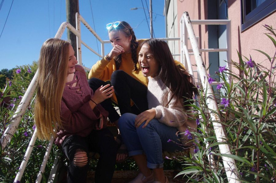 Laughing after Sunday brunch, sophomores Aly Ignacio, Brooke Dawson, and Avery Helene experience the positive benefits of expressing happiness with others. Laughter is often a key element of developing stronger friendships and is a good sign that you are connecting well with others.