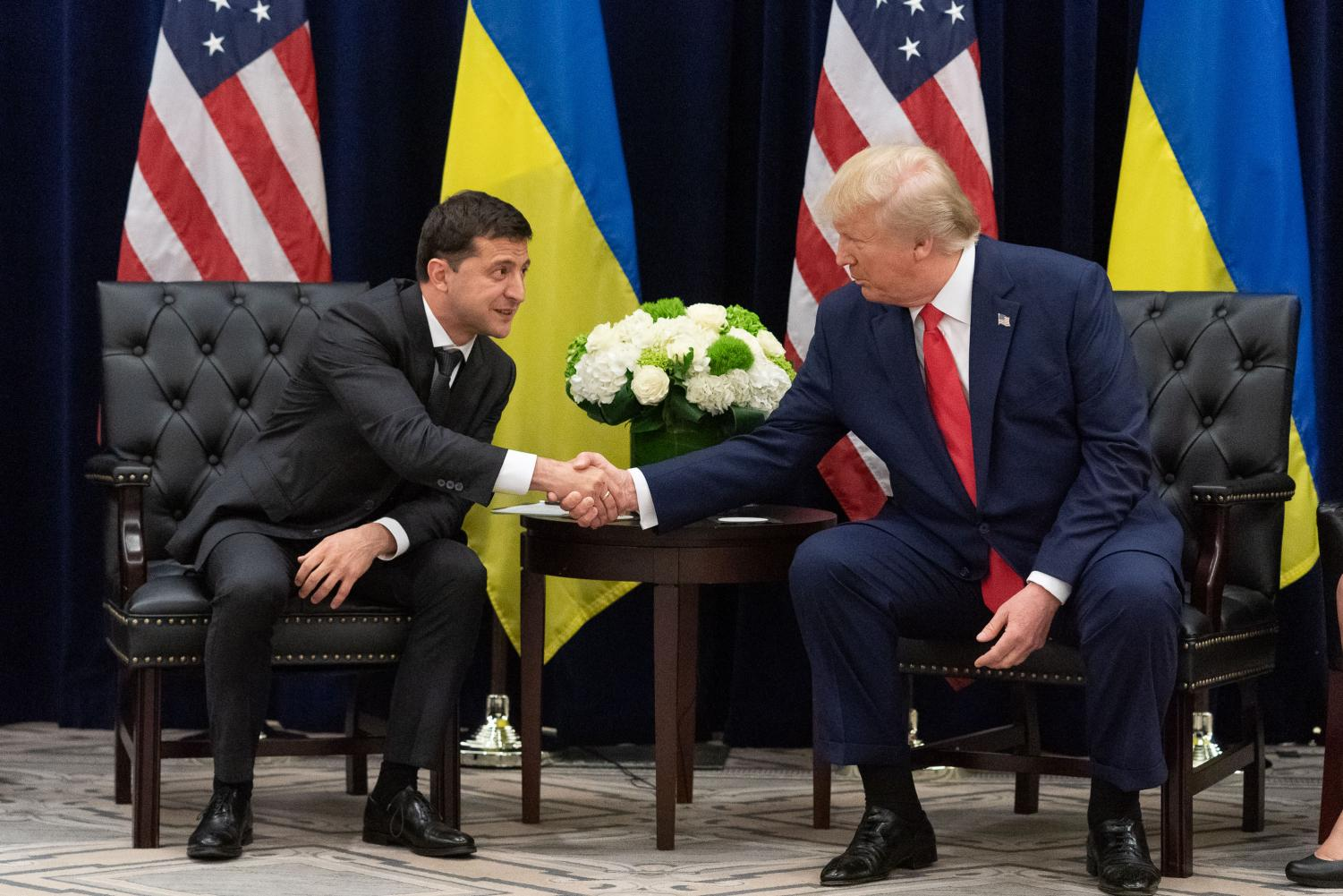 Shaking Ukrainian President Volodymyr Zelensky's hand, US President Donald Trump met with his Ukrainian counterpart in September. A phone call between these two leaders is the primary cause for the articles of impeachment against Donald Trump.