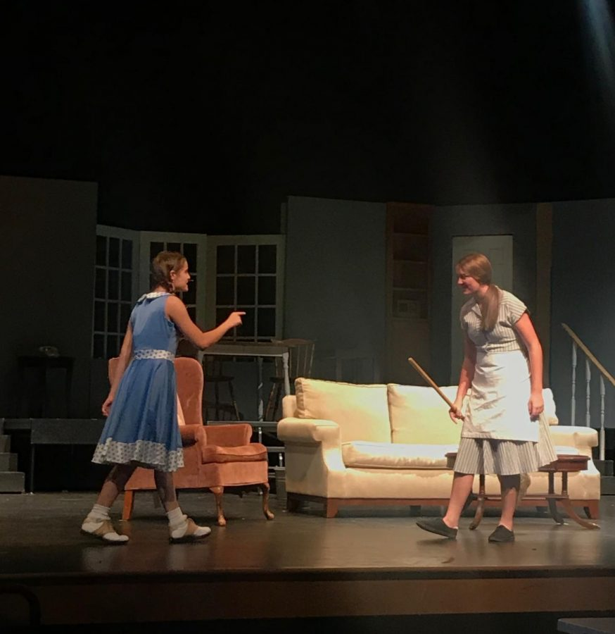 Rehearsing+for+the+fall+play%2C+freshman+Lily+Kindsvatter+takes+on+her+role+as+Rhoda+Penmark.+Lily+gained+a+lead+role+in+Bad+Seed+despite+learning+how+to+act+just+this+year.