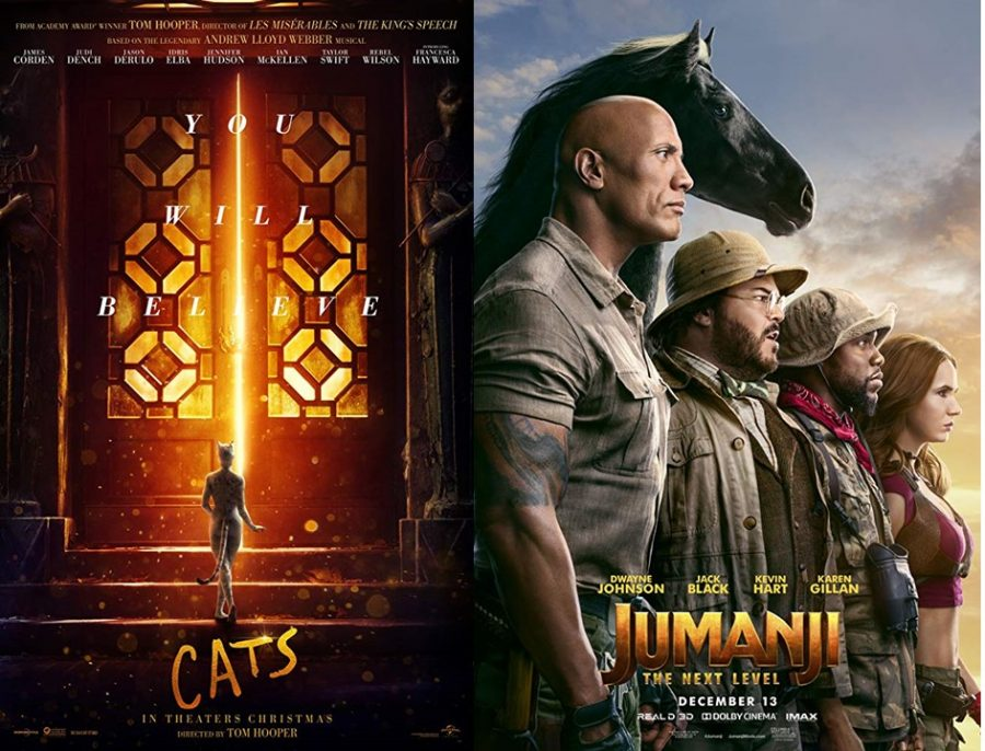 Displaying two movies that will be in theatres over winter break, these posters advertise Cats and Jumanji: The Next Level. Watching these movies over the long-awaited break is a perfect way to relax over the holidays.