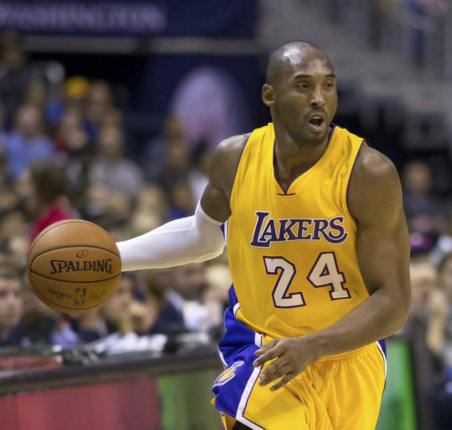 Dribbling+the+ball+down+the+court%2C+small+forward+and+shooting+guard+Kobe+Bryant+plays+in+one+of+the+last+games+of+his+career.+Bryant+was+killed+this+morning+due+to+a+helicopter+accident.+