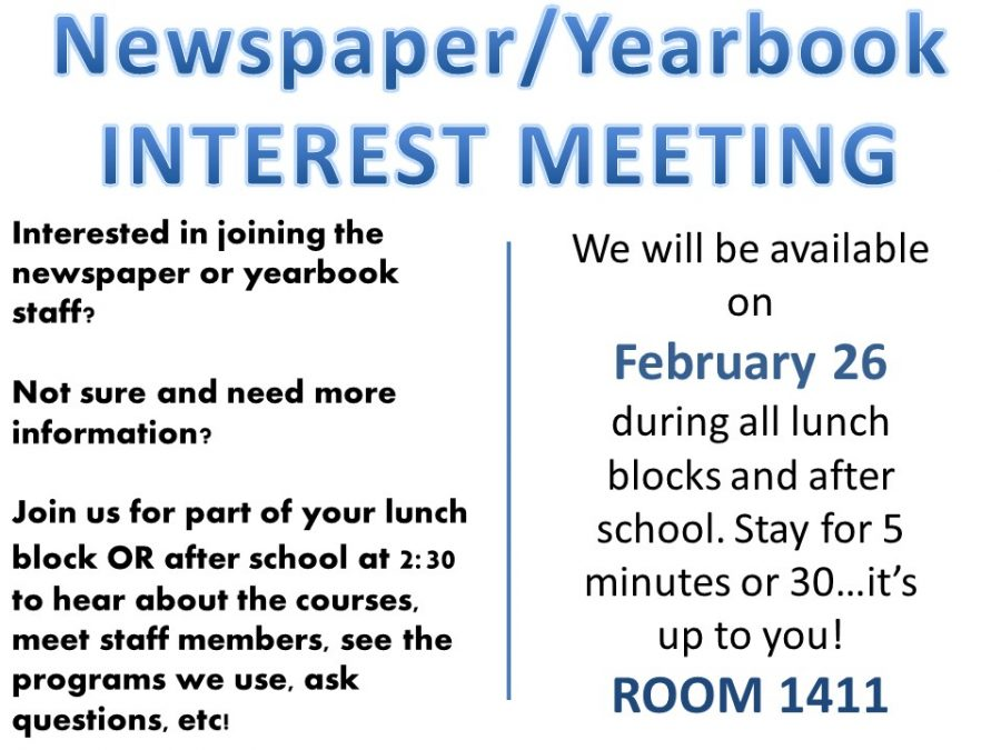 Newspaper and Yearbook Need YOU!