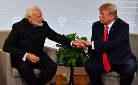 Pictured here shaking hands during the G7 summit last year, Donald Trump and Prime Minister Modi discussed trade and agreed on a $3 billion dollar security deal for India. President Trump also attended the home of revered social rights activist Mahatma Gandhi during his time in India. Photo By: Wikimedia Commons