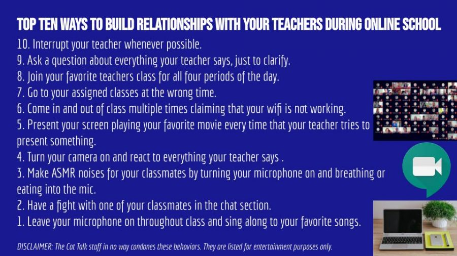 Top Ten Ways to Build Relationships with your Teachers during Online School