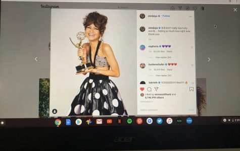 Smiling with joy, Zendaya shows off her first ever Emmy award. Her hard work as lead actress, Rue, in Euphoria clearly paid off.