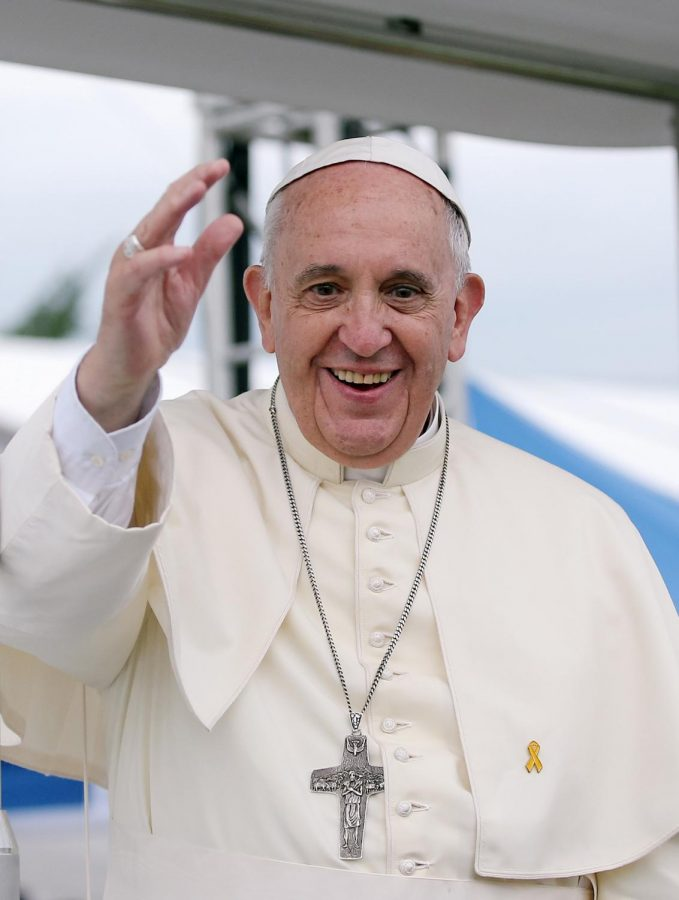 Waving+to+his+growing+number+of+supporters%2C+Pope+Francis+is+clearly+beloved+by+many.+He+is+the+head+of+the+Catholic+Church%2C+and+he+recently+used+this+platform+to+voice+his+support+for+same-sex+marriages%2C+a+shift+from+age-old+views+held+by+the+church.
