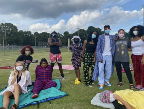 Members of MEB show their school spirit by dressing up for Spirit Week. Here, they encouraged students from Millbrook to virtually show their school spirit by sending in a picture from home.