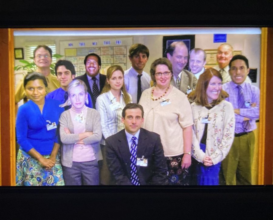 The cast of The Office smiles awkwardly in a group photo, photoshopped by the boss, Michael Scott. The Office, one of America's most popular comedies, is leaving Netflix on January 1 to go to Peacock.