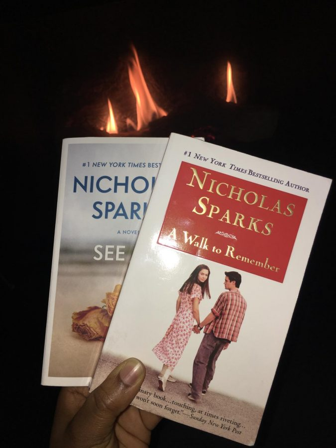 Pictured on the front cover of A Walk to Remember are the movie actors that play Jamie and Landon from the novel. Nicholas Sparks is a great author for current and new readers who love a beautifully written romance novel.