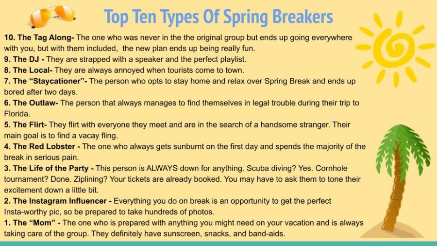Top Ten Types of Spring Breakers