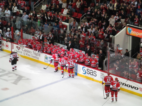 Leaving the ice following a period against the New Jersey Devils, Canes players show some love to their teammates for their hard work. The Hurricanes are one of the main title contenders in the NHL this year and could bring the Stanley Cup back to Raleigh for the first time in fifteen years.