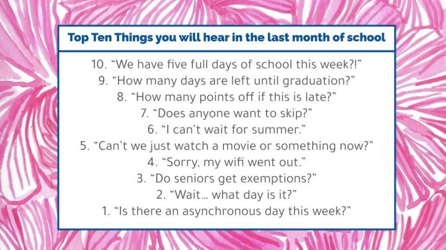 Top Ten Things you may hear during the last month of school!