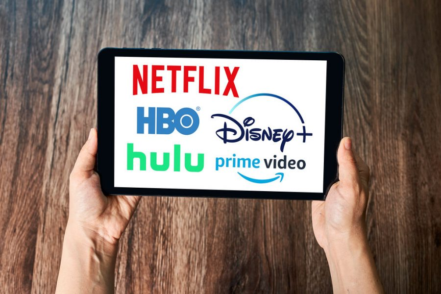 Displayed are a variety of popular streaming services: Netflix, HBO, Hulu, Disney Plus, and Prime Video. Each streaming service is unique and offers customers different options, making it more tempting to want them all.