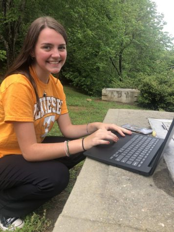Sitting outside, Gannon Hollar takes advantage of the at home learning by participating in classes at remote locations, such as nature preserves. While students were deprived of many typical school events, there were also upsides to online learning.