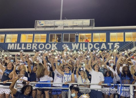 """Under the Friday Night Lights, Millbrook students waved their flashlights as they sang along to """"STAY"""" by The Kid LAROI and Justin Bieber. The  game ended with a score of 49-9, securing yet another win for Millbrook's football season."""
