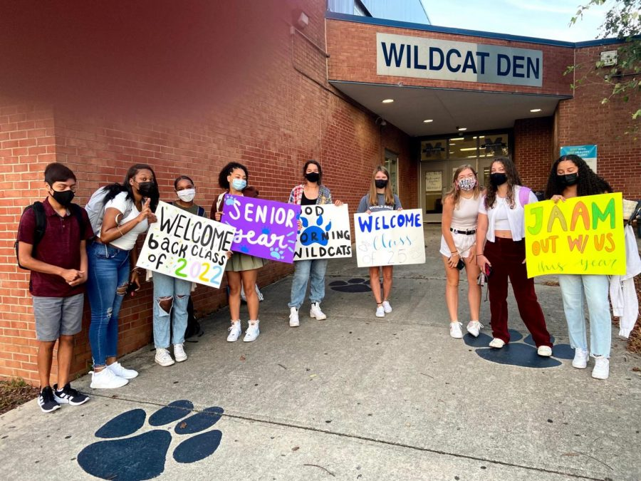 On the first day of school, Millbrook Executive Board gives a warm welcome to the returning students. In front of the Wildcat Den, they stand waiting for students to walk in.