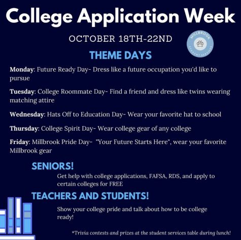 Bringing awareness to college application week, Millbrook hosts a spirit week for all students. This week, seniors will be talking to counselors and looking at resources to help get ready for college.